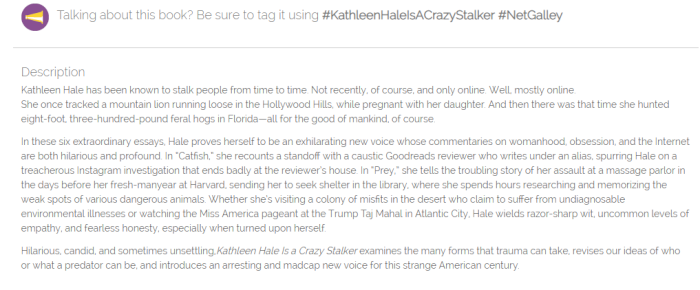 Kathleen Hale is a Crazy Stalker Netgalley