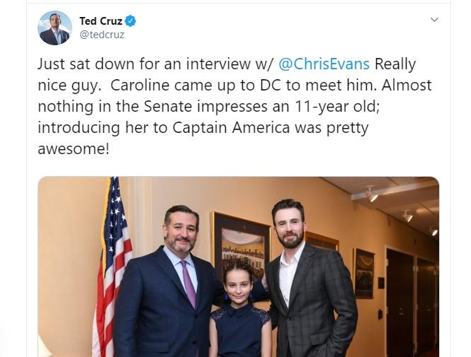 Chris Evans Ted Cruz Twitter